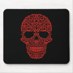Intricate Sugar Skull – red & black Mouse Pads