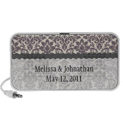 intricate taupe grey cream damask wedding keepsake notebook speakers by
