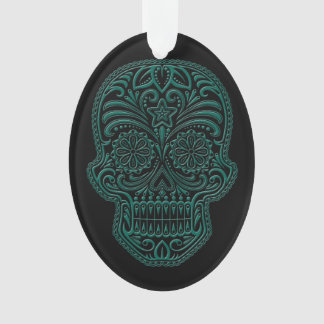 Intricate Teal Blue and Black Sugar Skull