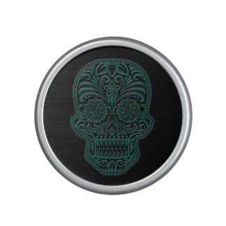Intricate Teal Blue and Black Sugar Skull Speaker