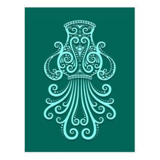 Intricate Teal Blue Aquarius Zodiac Postcard