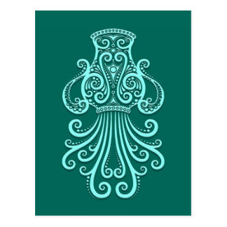 Intricate Teal Blue Aquarius Zodiac Postcards