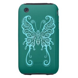 Intricate Teal Blue Butterfly Tough iPhone 3 Covers