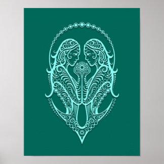 Intricate Teal Blue Gemini Zodiac Posters