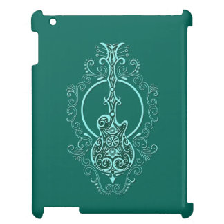 Intricate Teal Blue Guitar Design Cover For The iPad