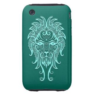 Intricate Teal Blue Leo Zodiac iPhone 3 Tough Covers