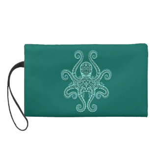 Intricate Teal Blue Octopus Wristlet Clutches