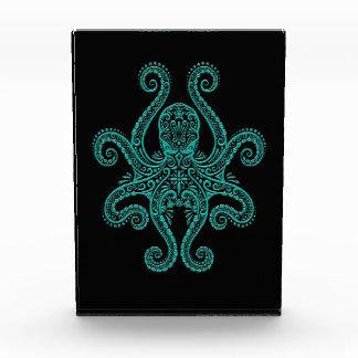 Intricate Teal Blue Octopus on Black Award