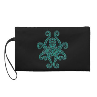 Intricate Teal Blue Octopus on Black Wristlet Clutches