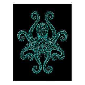 Intricate Teal Blue Octopus on Black Postcard