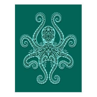 Intricate Teal Blue Octopus Postcard