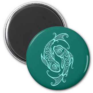 Intricate Teal Blue Pisces Zodiac Refrigerator Magnets