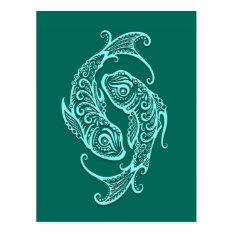 Intricate Teal Blue Pisces Zodiac Postcard at Zazzle