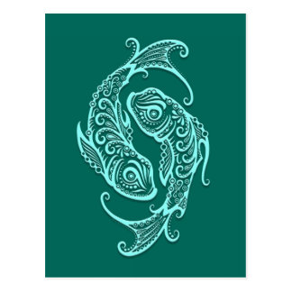 Intricate Teal Blue Pisces Zodiac Postcard