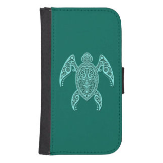 Intricate Teal Blue Sea Turtle Galaxy S4 Wallet Case