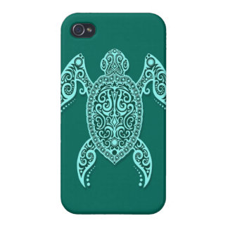 Intricate Teal Blue Sea Turtle iPhone 4/4S Cases
