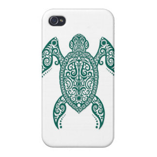 Intricate Teal Blue Sea Turtle on White Covers For iPhone 4
