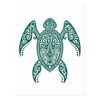 Intricate Teal Blue Sea Turtle on White Postcard