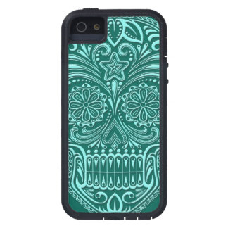 Intricate Teal Blue Sugar Skull iPhone 5 Case