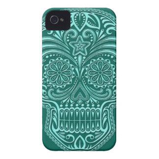 Intricate Teal Blue Sugar Skull iPhone 4 Case-Mate Case