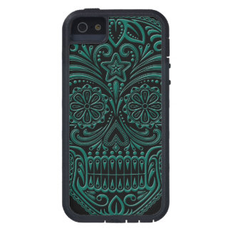 Intricate Teal Blue Sugar Skull on Black iPhone 5 Case