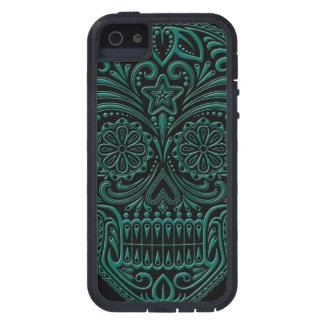 Intricate Teal Blue Sugar Skull on Black iPhone SE/5/5s Case