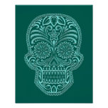 Intricate Teal Blue Sugar Skull Poster