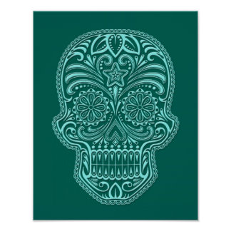Intricate Teal Blue Sugar Skull Print