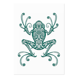 Intricate Teal Blue Tree Frog on White Large Business Card