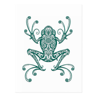 Intricate Teal Blue Tree Frog on White Postcard