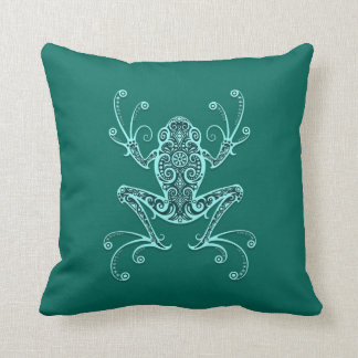 Intricate Teal Blue Tree Frog Throw Pillow