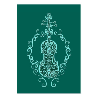 Intricate Teal Blue Violin Design Large Business Card