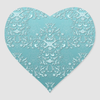Intricate Teal Floral Damask Heart Sticker
