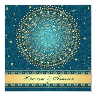 Intricate Teal, Gold Scrolls Stars Wedding Invite