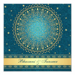 "Intricate Teal, Gold Scrolls Stars Wedding Invite 5.25"" Square Invitation Card"
