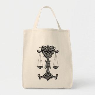 Intricate Tribal Libra Grocery Tote Bag