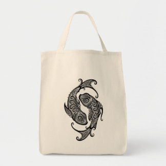Intricate Tribal Pisces Grocery Tote Bag