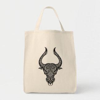 Intricate Tribal Taurus Grocery Tote Bag