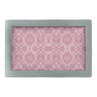 Intricate Vintage Floral - In Pink Rectangular Belt Buckle