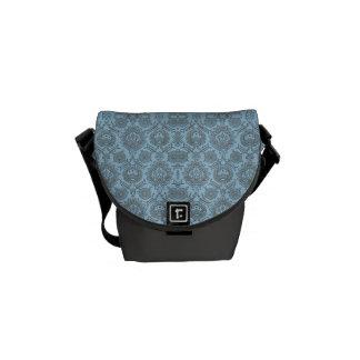 Intricate Vintage Floral - Light Blue Messenger Bag