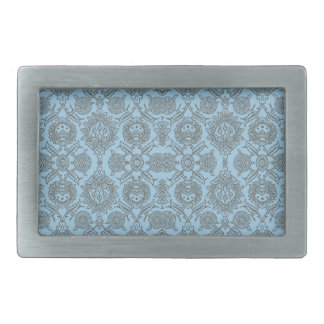 Intricate Vintage Floral - Light Blue Rectangular Belt Buckle