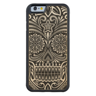 Intricate White and Black Sugar Skull Carved Maple iPhone 6 Bumper Case