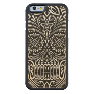 Intricate White and Black Sugar Skull Carved® Maple iPhone 6 Bumper Case