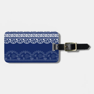 Intricate White Lace on Deep, Royal Blue Tags For Bags