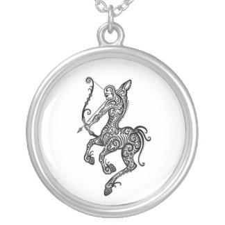 Intricate White Sagittarius Zodiac on Black Jewelry