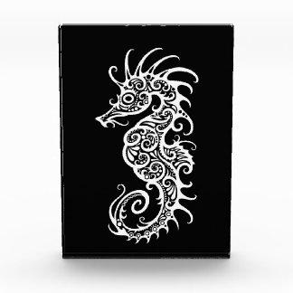 Intricate White Seahorse Design on Black Award