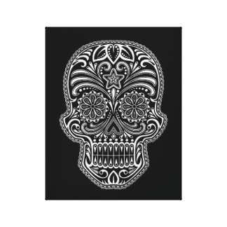 Intricate White Sugar Skull on Black Canvas Print
