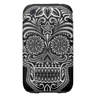 Intricate White Sugar Skull on Black Tough iPhone 3 Covers