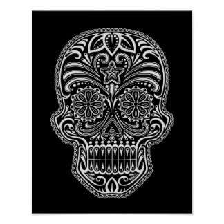Intricate White Sugar Skull on Black Poster