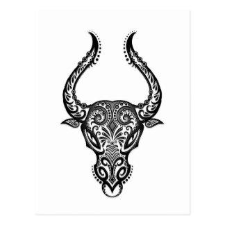 Intricate White Taurus Zodiac on Black Postcard